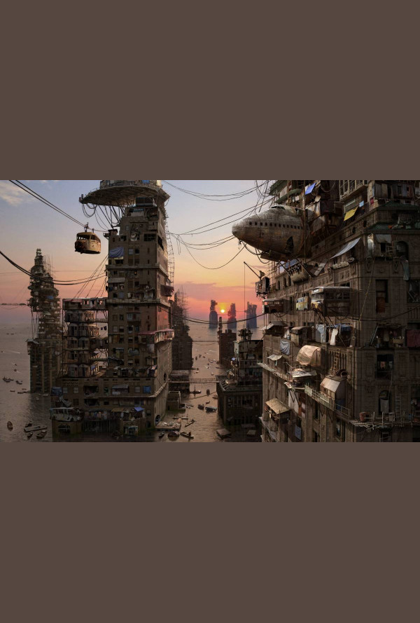 Плакат паспарту - Архипелаг Ню Йорк, сцена от града